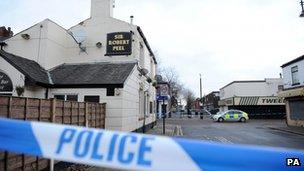 The scene in Stockport, where an off-duty police officer was killed at the weekend