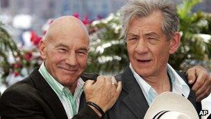 Sir Patrick Stewart and Sir Ian McKellen at the 2006 Cannes Film Festival