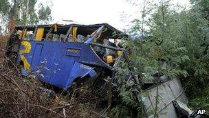 The wreckage of a bus in Serta, central Portugal
