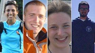 Rachel Majumdar, Christopher Bell, Una Finnegan agus Tom Chesters