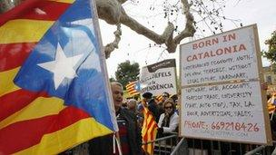 separatist supporters in Catalonia