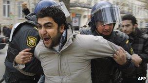 Arrest of anti-Aliyev protester in Baku, 26 Jan 13