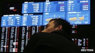File photo: Tokyo stock exchange, 6 February 2013