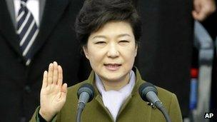 Park Geun-hye takes the oath of office in Seoul on 25 February 2013