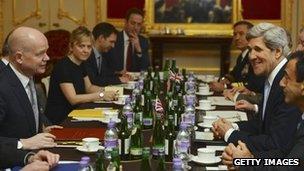 William Hague and John Kerry in talks