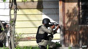 Indonesian anti-terror police Densus 88 in the centre of Poso, Central Sulawesi, in November 2012