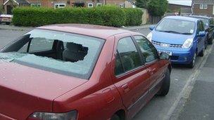 Damaged cars on Littlemoor Estate