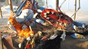 Damaged Hindu artefacts in Aladin Nagar