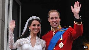 Prince William, Duke of Cambridge, and the Duchess of Cambridge on their wedding day in 2011.