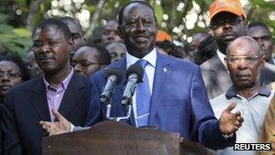 Kenya's Prime Minister Raila Odinga addresses a news conference after Uhuru Kenyatta was declared winner of presidential elections on 9 March 2013