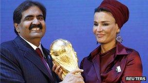 Sheikh Hamad bin Khalifa al Thani and his wife Sheikha Moza Bint Nasser al-Misnad