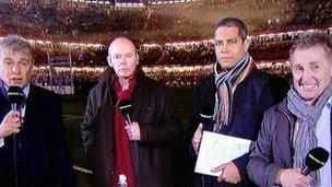 John Inverdale, Clive Woodward, Jeremy Guscott a Jonathan Davies