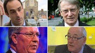 (Gyda'r cloc) Christopher Salmon, Alun Michael, Winston Roddick a Ian Johnston