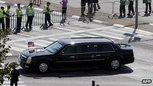 Armoured limousine of President Barack Obama drives through Jerusalem after his arrival. 20 March 2013