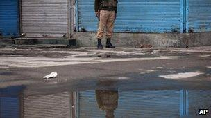 Indian paramilitary soldier in Srinagar on March 14, 2013