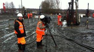 Work under way on replacing the track near Melrose in southern Scotland