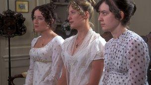 Jennifer Ehle as Elizabeth Bennet, Susannah Harker as Jane and Lucy Briers as Mary in BBC production of Pride and Prejudice
