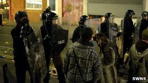 Riot police at the gathering in Easton