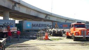 Work continues on the new viaduct at the port of Santos