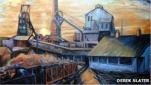 Coal mining painting by Derek Slater