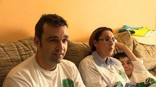 Lorenzo Barba with his wife and son at home in Jerez