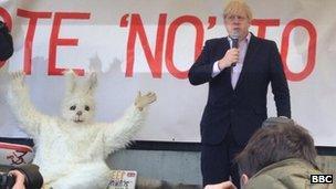 Mayor Boris Johnson speaks at the rally