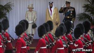 The Queen, Prince Phillip and Sheikh Khalifa Al-Nahyan