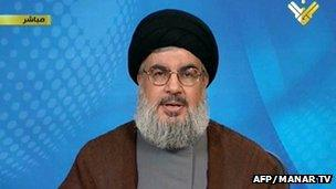 Screen grab from Lebanon's Hezbollah-run al-Manar TV shows Hezbollah leader Hassan Nasrallah delivering a speech from an undisclosed location, 30 April 2013