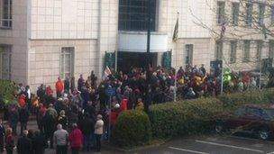 Crowds at the civic centre