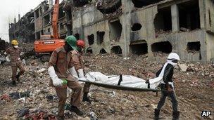 Body carried from Rana Plaza. 9 May 2013