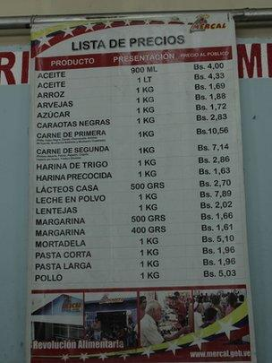 Price list at a Mercal supermarket