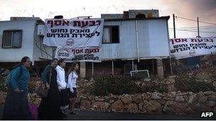 Settlers in Givat Asaf, northeast of Ramallah, in October 2011.