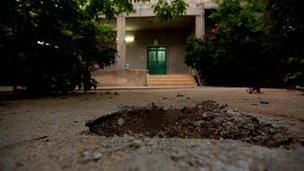 Hole in ground in Khatib family courtyard