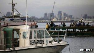 An Ivory Coast gendarmerie boat is at the port of Abidjan. Photo: April 2013