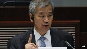 Timothy Tong, former head of Hong Kong's Independent Commission Against Corruption (ICAC), answers questions at a Legislative Council hearing, 18 May 2013