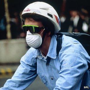 Cyclist wearing a mask