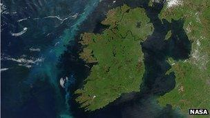 A plankton bloom west of Ireland in the Atlantic