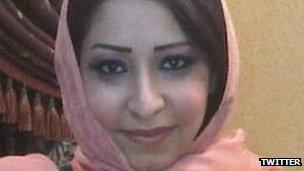 Iman al-Qahtani's face from a Twitter account in her name