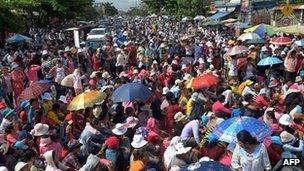 Cambodian workers protesting