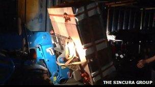 The Sincura Group supplied a video of the brickwork being transported