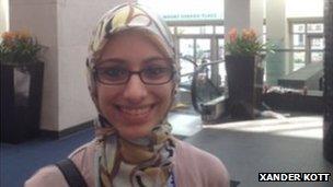 Amal Omar at a conference in Washington
