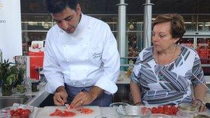 Celebrity chef Sergio Barzetti demonstrates cooking tips