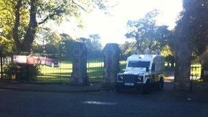 Police at Alexandra Park, close to where the man was found