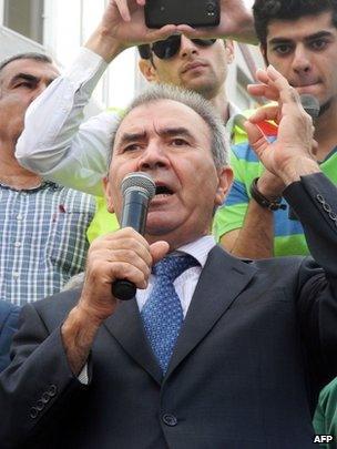 Jamil Hasanli at a rally in Baku, 22 September