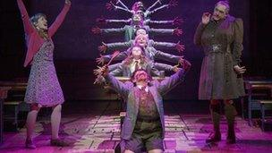 The cast of Matilda The Musical, including Bertie Carvel (right), in New York.