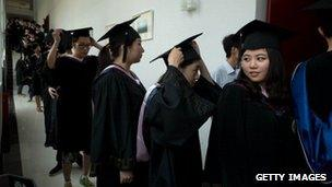 Chinese students lining up to receive degree certificates