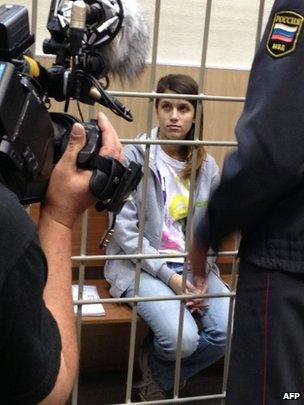 Greenpeace International activist Camila Speziale (from Argentina) at a court in Murmansk on October 14, 2013