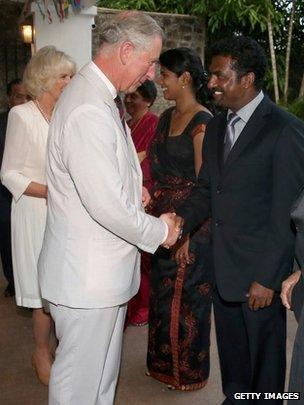 Muttiah Muralitharan meeting the Prince of Wales