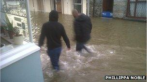 Flooded St Mary's street in Cardigan on 3 January 2014