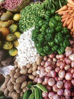 Vegetable stall, India (Image: BBC)